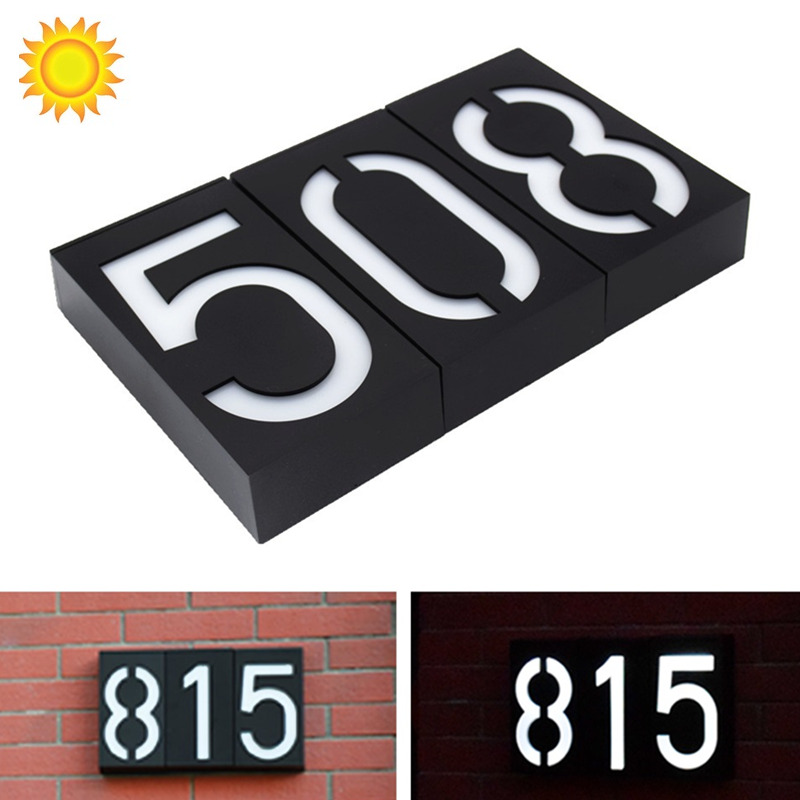IP65 Outdoor Light House Number Solar Powered Outdoor Wall Lamp Outdoor Light With LED Gate Light Address Number Sign Lamp