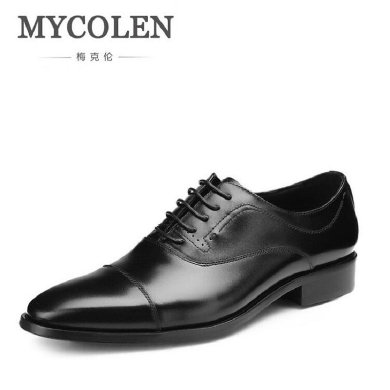 MYCOLEN Modern Gentlemen Formal Oxfords Genuine Leather Mens Wedding Party Men Shoes Square Toe Black Blue Dress Shoes Man good quality men genuine leather shoes lace up men s oxfords flats wedding black brown formal shoes