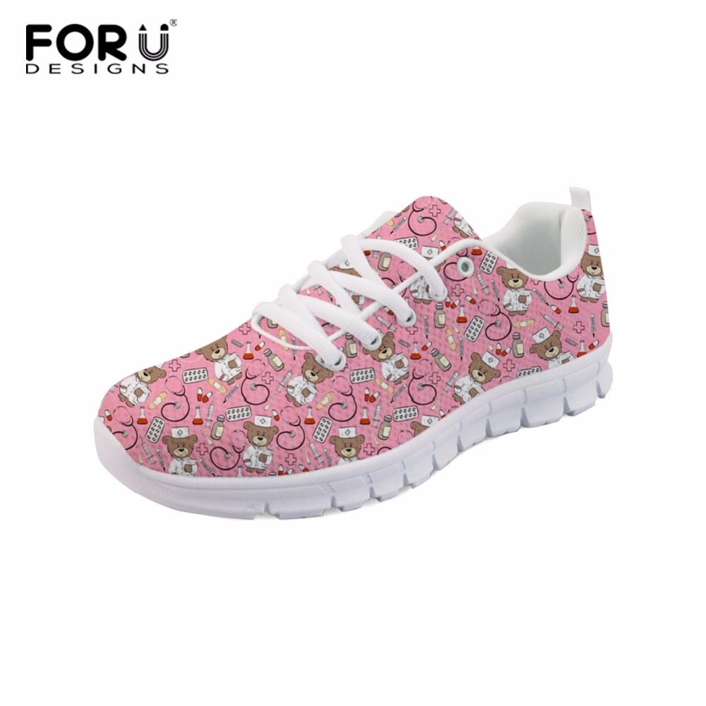 FORUDESIGNS Nurse Bear Printed Women Comfortable Flat Shoes Girls Lace up Shoes Female Light Weight Sneakers Zapatos Mujer forudesigns 3d flowers pattern women casual sneakers comfortable mesh flats shoes for female girls lace up shoes zapatos mujer