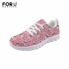 FORUDESIGNS Enfermera Oso Impreso Mujeres Cómodas Zapatos Planos Niñas Zapatos con cordones Femeninos Ligeras Zapatillas Zapatos Mujer