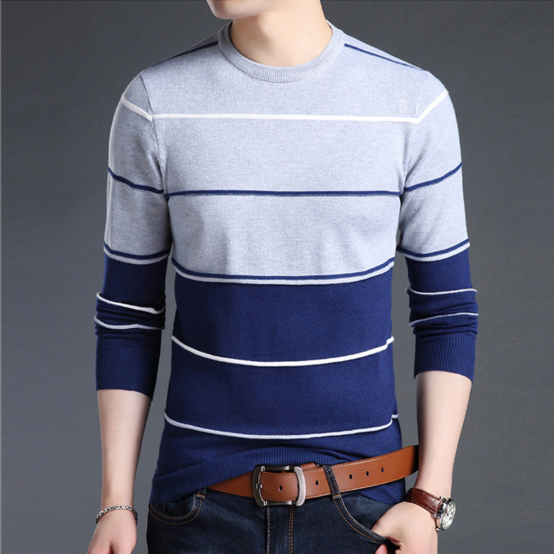 Mwxsd High Quality Casual Sweater Men Winter O-Neck Sweaters Striped Slim Fit Knitting Mens Sweaters And Pullovers Men Pullover