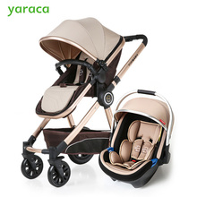 Baby Stroller 3 in 1 High Landscape Baby Carriages For Kids With Baby Car Seat Prams
