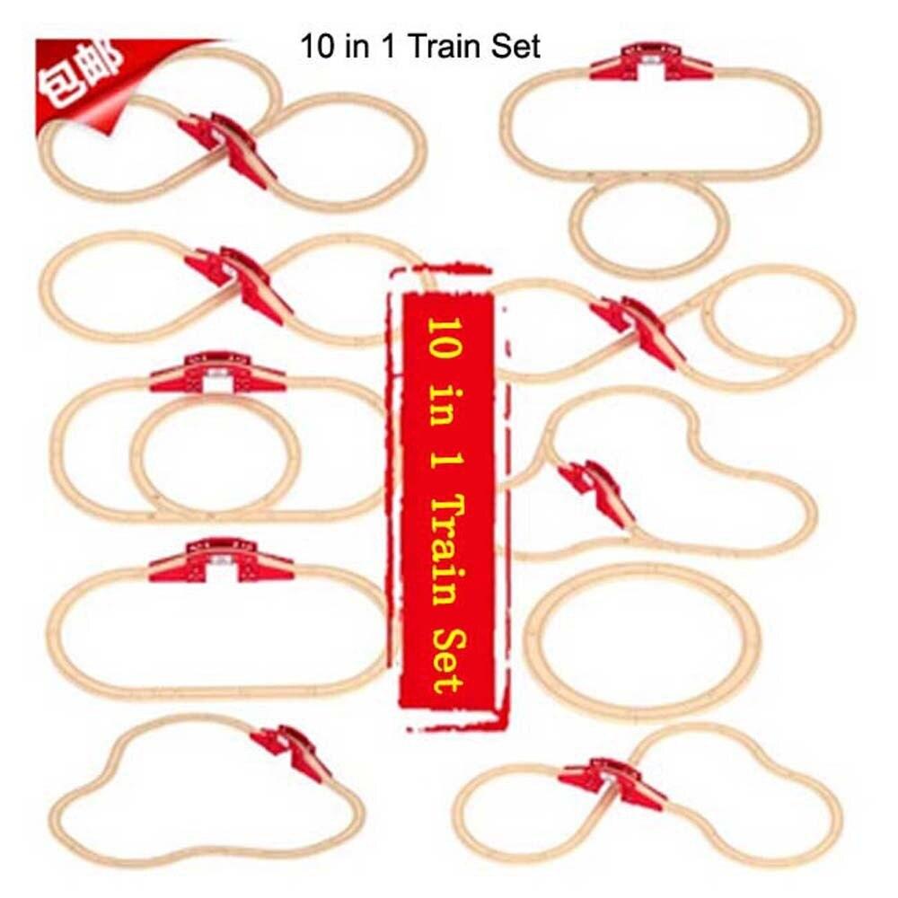 10 in 1 Train railway track Set children puzzle slot wood toy track orbit
