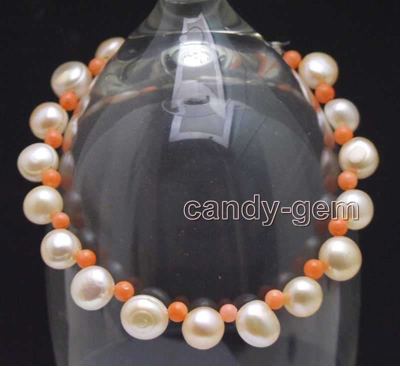 SALE 7-8mm Flat Round Pink side drilled pearl & Pink Coral 7.5'' Bracelet-bra402