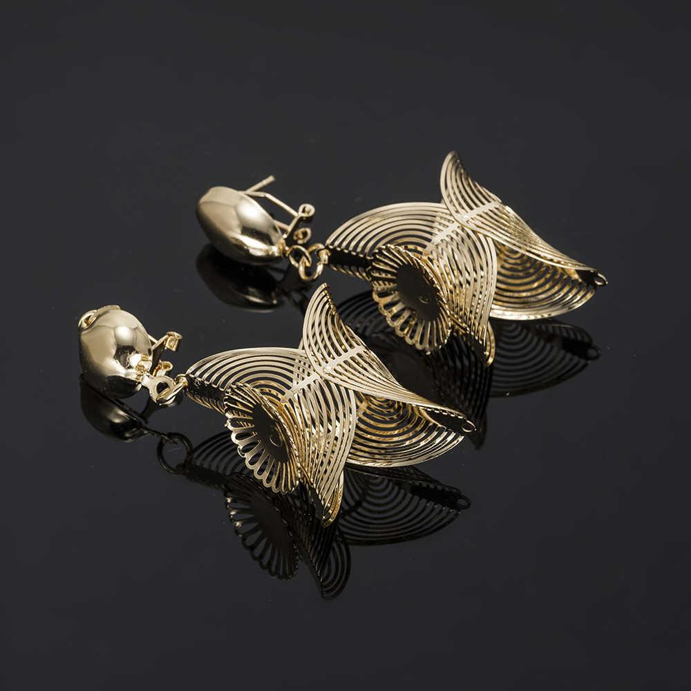 MUKUN Großhandel Big Nigerian Frau Hochzeit Afrikanische Perlen Schmuck Set Mode Marke Dubai Schmuck-Sets Gold farbe zubehör