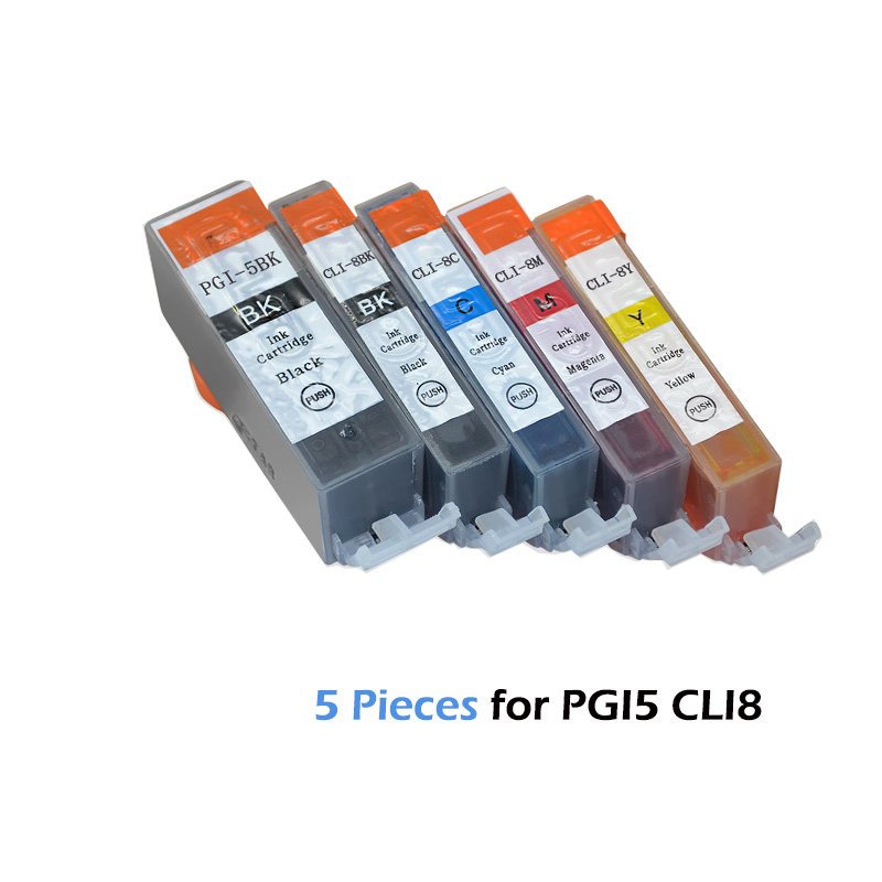 5pcs Compatible Ink Cartridges PGI-5 CLI-8 PGI5 CLI8 For Canon PIXMA IP4200 IP4300 IP4500 MP500 IP5200  MP530 MP600 MP610 MP800