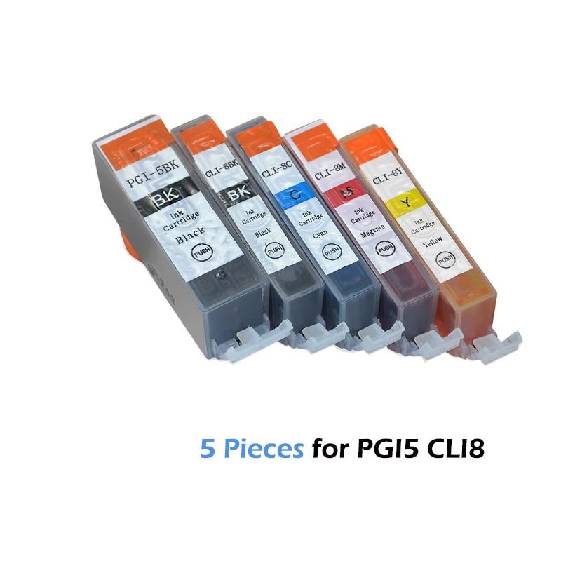 5pcs Compatible Ink Cartridges PGI-5 CLI-8 PGI5 CLI8 for Canon PIXMA iP4200 iP4300 iP4500 MP500 iP5200  MP530 MP600 MP610 MP8005pcs Compatible Ink Cartridges PGI-5 CLI-8 PGI5 CLI8 for Canon PIXMA iP4200 iP4300 iP4500 MP500 iP5200  MP530 MP600 MP610 MP800