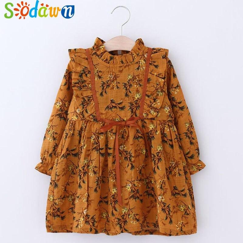 Sodawn 2018 New Spring Girls Fashion Lace Bow Design Print Princess Dress Princess Dress Children Clothing Baby Girls Clothes