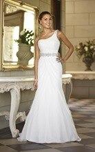 Don's Bridal 2016 A Line Wedding Dresses One Shoulder Beaded Chiffon Satin Cheap Bride Gown Weeding Dress Robe De Mariee