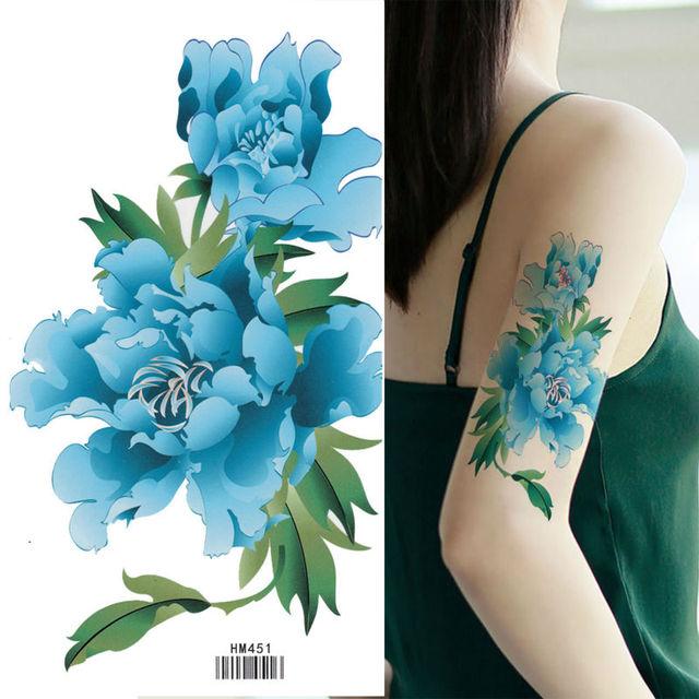 roi cheval grand bleu fleur de pivoine faux tatouage temporaire