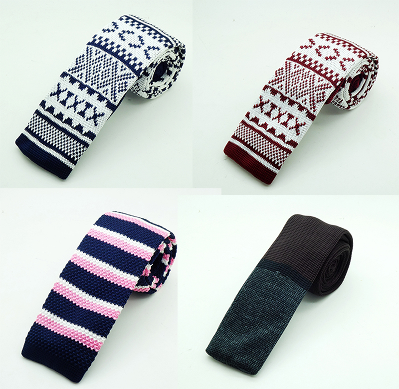 GUSLESON New Fashion Man Stickad Slips Märke Slim Designer Mens Stickad Neck Ties Cravate Smala Smala Slipsar för män