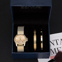 Luxury women watches 3Pcs gift box sets high quality plated stainless steel bracelets with boxes wristwatches Mother's Day gift
