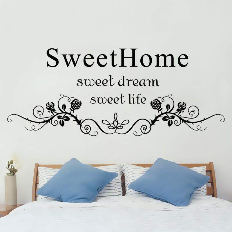 AW9069A Sweet Home Englisch Aufkleber Wohnzimmer Schlafzimmer Wand Grosshandel BenutzerdefinierteChina