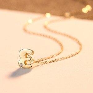 Image 5 - CZCITY Echtem 14K Gold Petite CZ Initial Brief Anhänger Halsketten für Frauen Einzigartige A Z Brief Halskette Schmuck Geschenke