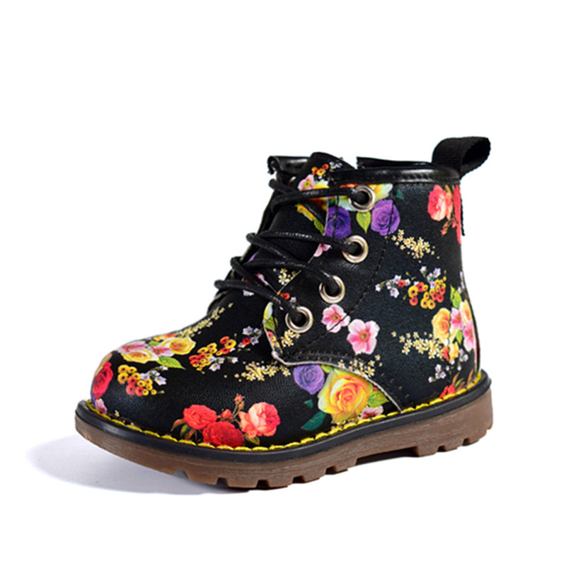 AOGT 2019 New Autumn Girls Rose Flower PU Leather Martin Boots Fashion Brands Comfy Ankle Baby Sweet Kids Girl Shoes