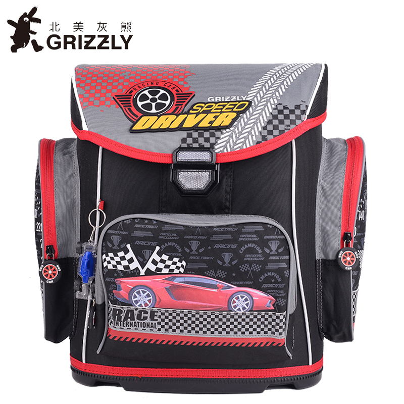 GRIZZLY Kids Cartoon Bags Children Schoolbags for Boys Orthopedic&Waterproof Backpacks Primary School Bags for Grade 1-6 primary children cartoon mickey school bags 2016 kids cartoon backpack waterproof schoolbags satchel for boys and girls