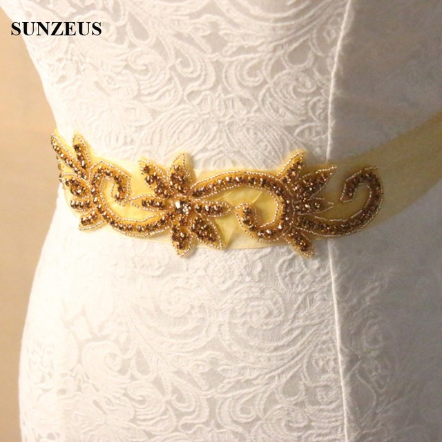 Luxury Handmade Wedding Belt for Bridal Sparkly Gold Beaded Wedding Accessories Sashes acessorios para vestido de noiva S527