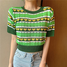 New Women Striped Short Sleeve Green Sweaters Shirts O-Neck Cropped Thin Hollow Out Sweater Pullover Crop Top For Female