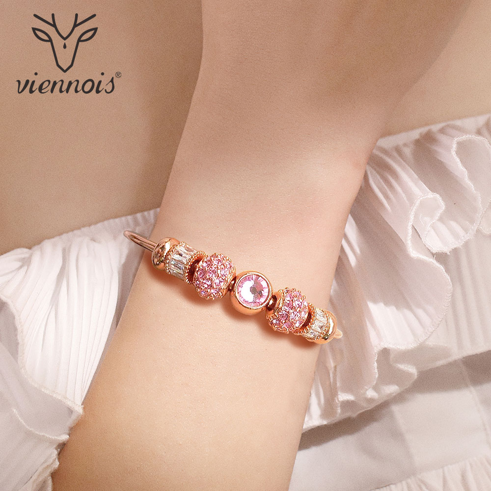 Viennois Bracelet Bangles Jewelry Rhinestone Crystal Rose-Gold/silver-Color Women Blue
