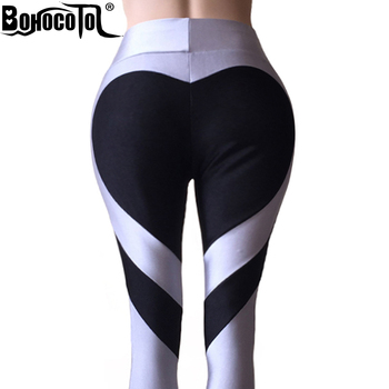 Bohocotol S-XXXL New Ass Love Stitching Leggings Put Hip Elastic Waist Leggins High Waist Stitching Large Size Pants Free Ship