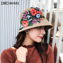 ZJBECHAHMU Fashion New Solid Vintage Floral Elegant Fedoras For Women Girl Autumn Winter Wool Warm Jazz Hats Wedding hat