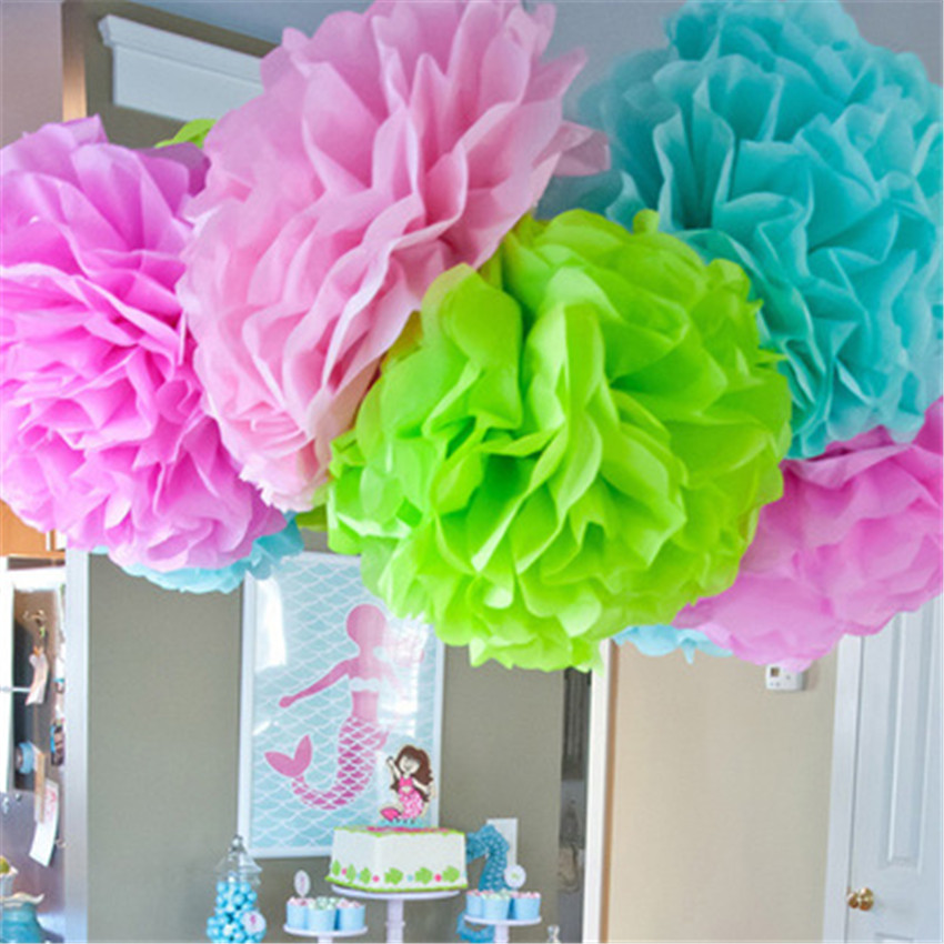 10pcs Babyshower 15cm 6 Inch Tissue Paper Flowers Pom Poms Balls Lanterns Craft Wedding