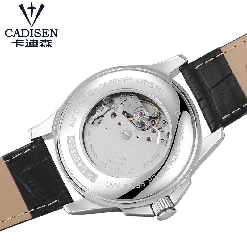 Image 5 - Mens Watches CADISEN Classic AUTO Date Automatic Mechanical Watch  Analog Skeleton Black Leather Man Black ceramic WristwatchMechanical  Watches