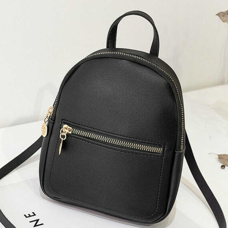 NEW Women Girls Zipper Mini Backpack Faux Leather Softback Backpack