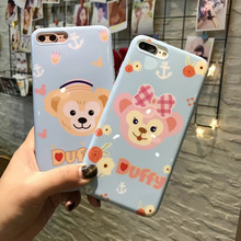 ФОТО (1pc) for iphone x 8 8 plus 7 7 plus 6s plus 6s case + tempered glass screen cute lovely duffy monkey cases tpu cover