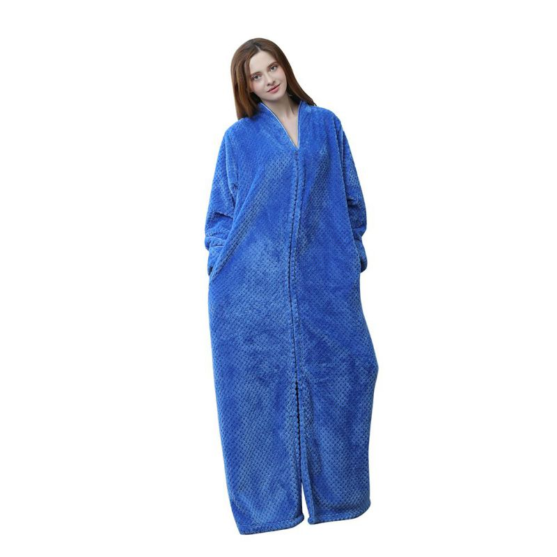 Loose Front Zip Flannel Robe Solid