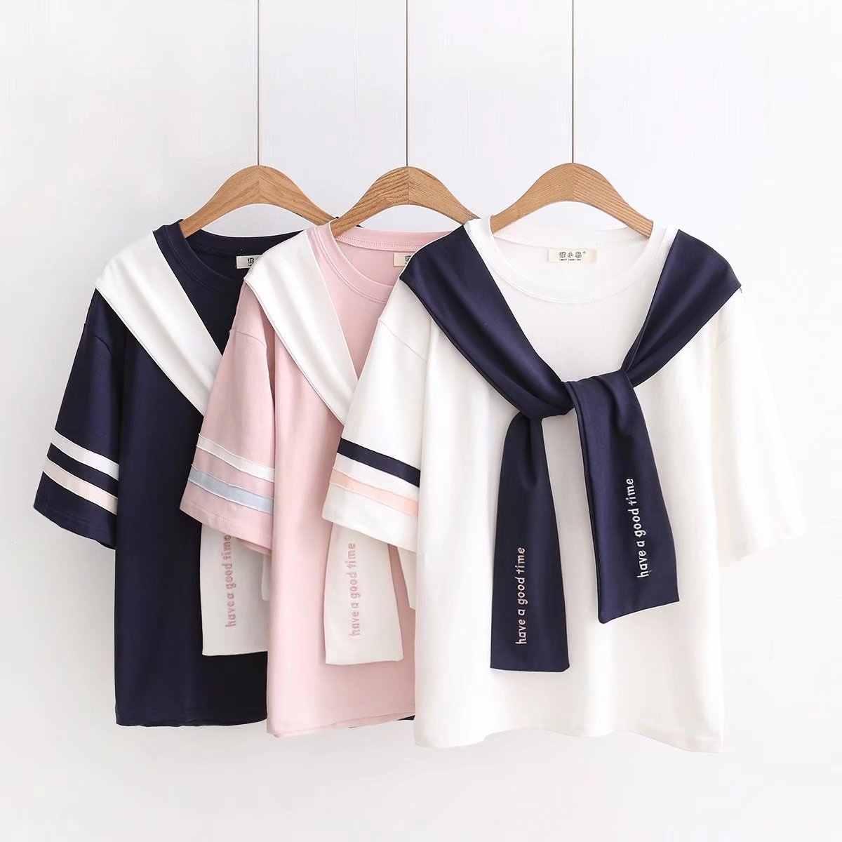 VEVEFHUANG 日本語パッチワークショール緩いセーラー tシャツ女性新夏の手紙刺繍 Tシャツ半袖トップスファム Tシャツ