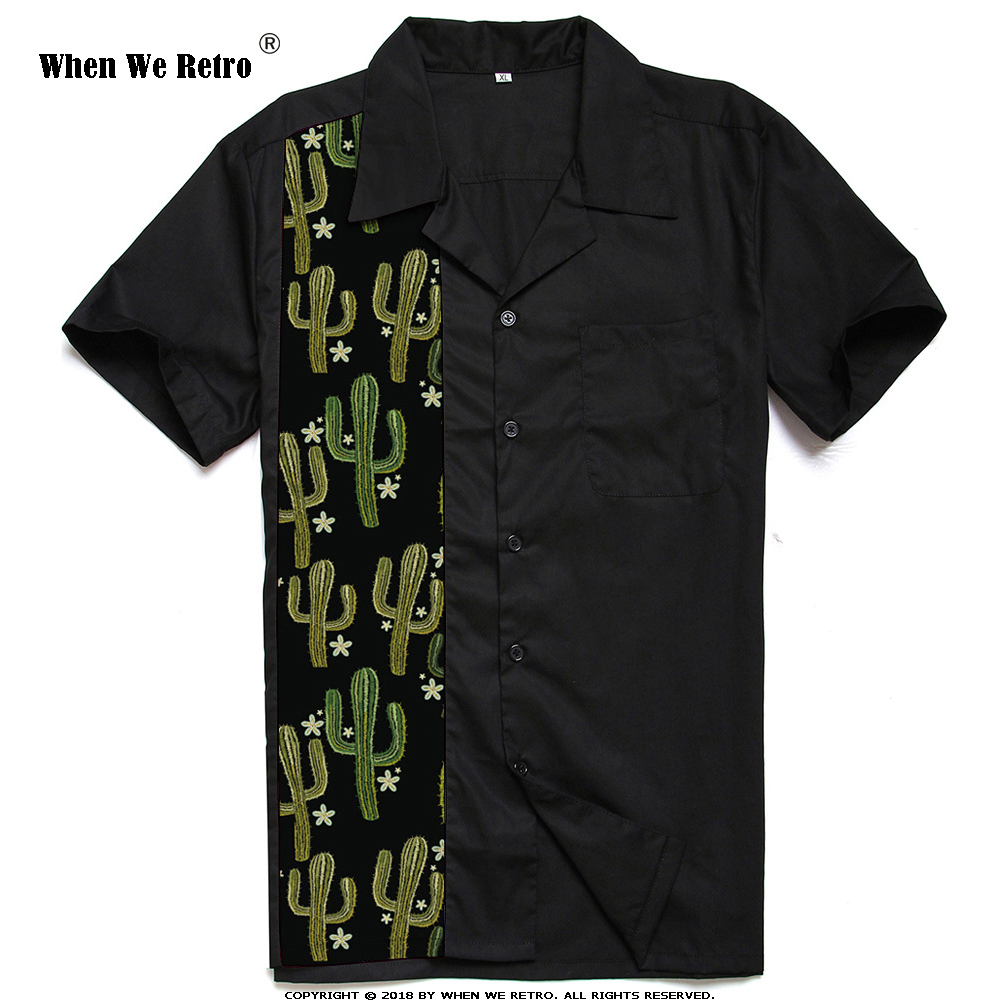 When We Retro Black Men Shirt ST110cactus Cactus Print Classic Vintage Bowling Short Sleeve Shirts camiseta hombre
