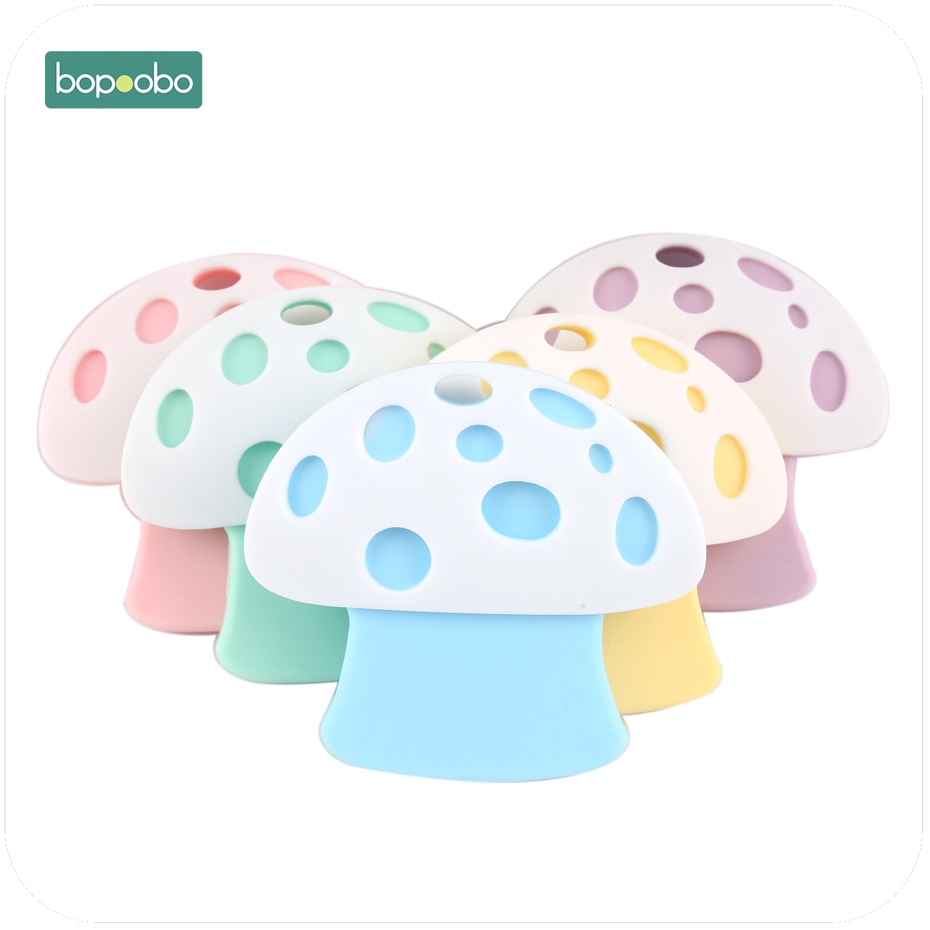 Bopoobo 1pc New Silicone Mushroom Teether Food Grade Materials Charms Nursing Necklace Pendant Baby Accessories Gifts