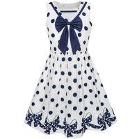 Sunny Fashion Girls Dress Navy Blue Dot Bow Tie Back School Uniform Cotton 2017 Summer Princess