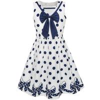 Sunny Fashion Girls Dress Navy Blue Dot Bow Tie Back School Uniform Cotton 2017 Summer Princess