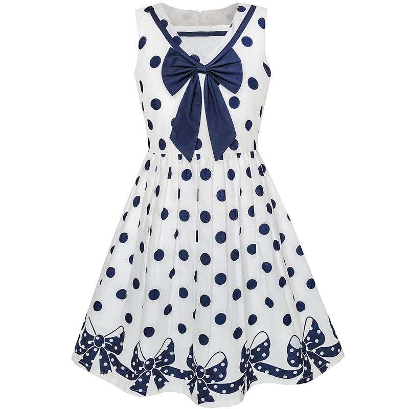 Sunny Fashion Girls Dress Navy Blue Dot Bow Tie Back School Uniform Cotton 2018 Summer Princess Wedding Party Dresses Size 5-12 sunny fashion girls dress hi lo maxi chiffon lace polka dot necklace party 2018 summer princess wedding dresses size 7 14