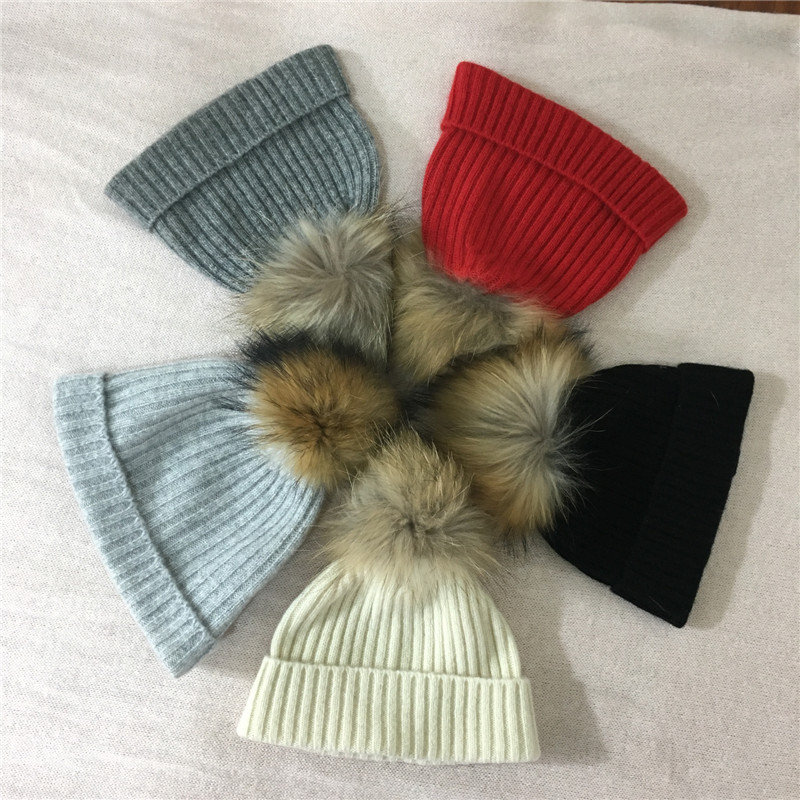 100% cashmere baby pompom beanie hat 6-24months baby knitted pompom hat