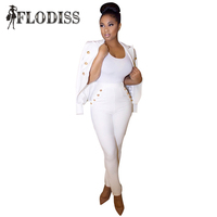 2016 Autumn American Women Blazer Sets Fashion White Work Clothes Ladies Casual Double Breasted Top Pants