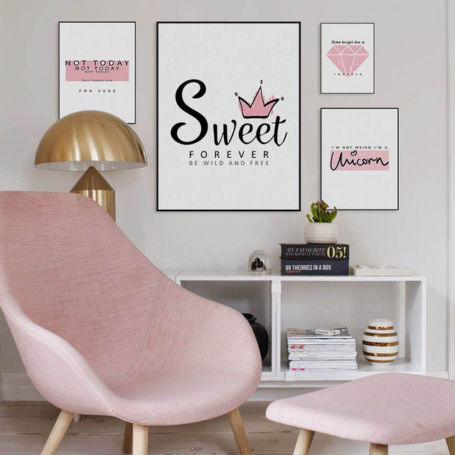 Modern Fashion Pink Crown Diamond Sweet Quote Poster Nordic Girl ...