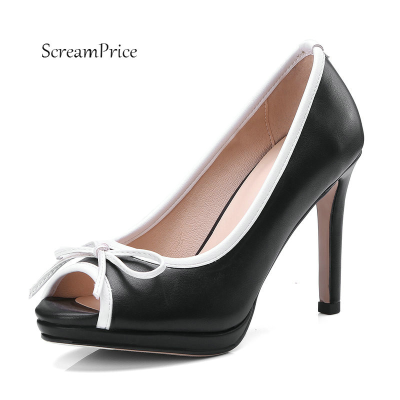 Women Sweet Bow Knot Platform Slip On Peep Toe Pumps Sexy Thin High Heel Party With Plus Size Shoes Black White Beige цена