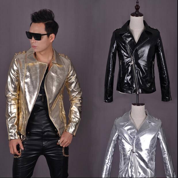 Street black gold silver light skin mens leather jackets and coats slim fit men leather motorcycle clothing oblique zipper XL