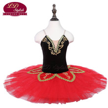 Children Black Ballet Tutu The Nutcracker Performance Stage Wear Girls Red Dance Competition Costumes Kids Skirt