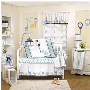 9 pieces happy animals baby cotton crib bedding with bumper quilt sheet skirt and blanket