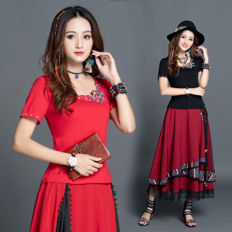 KYQIAO ethnic designer t shirt women summer Mexico style boho hippie vintage o neck red black embroidery t shirt tops