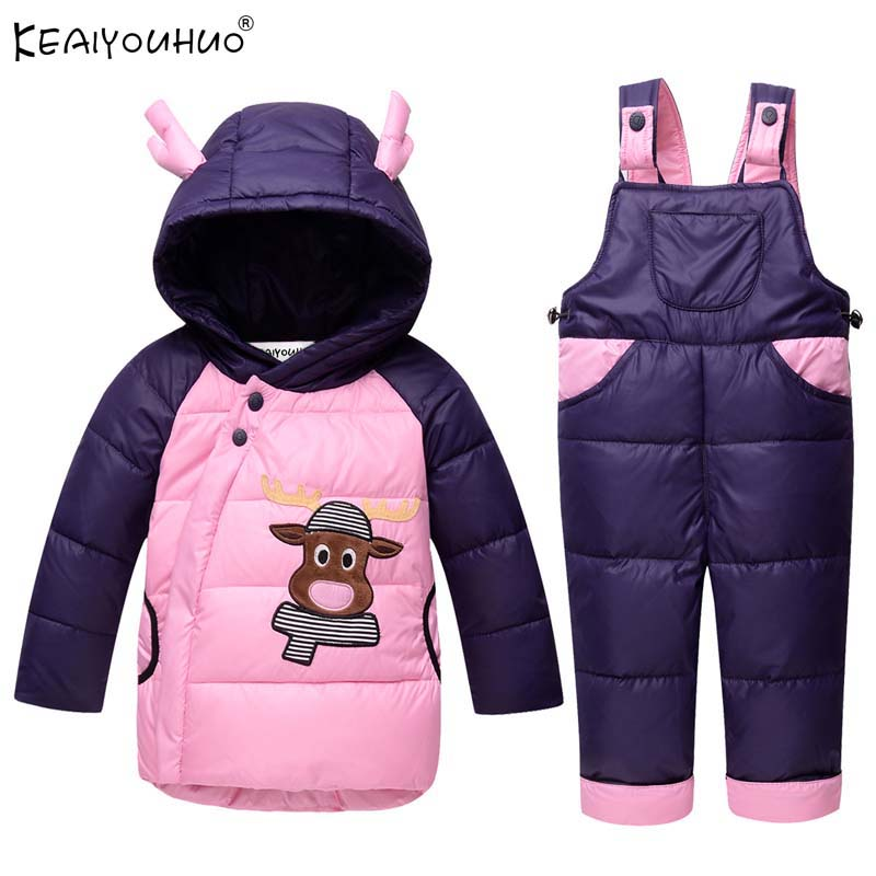 KEAIYOUHUO 2017 New Baby Girl Clothes Sets Winter Warm Boys Coats Long Sleeve Jackets For Kids Sport Suit Children Clothing Sets 2016 winter boys ski suit set children s snowsuit for baby girl snow overalls ntural fur down jackets trousers clothing sets