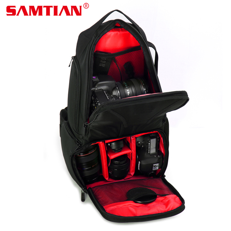 SAMTIAN Professional DSLR Camera Photo Bag Backpack Hiking&Traveling Camera Shoulder Bag Case For Canon Nikon Sony Gopro Hero 5 dslr camera backpack padding lens divider insert bag with 15 laptop pack travel bag for canon 5d 7d 600d nikon d7200 sony a6000