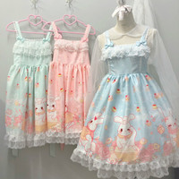 New Harajuku Kawaii Cosplay Dress Elegant Stitching Lace Dream Dress Female Rabbit Print Lolita Off The Shoulder Dresses Women