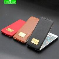 Lovecase caja I6 6 s más arriba y abajo de cuero genuino Flip teléfono caso para el iPhone 6/6 s 6/6 s más Teléfono de lujo cubierta trasera Carcasas
