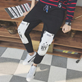 Winter Korean Sweatpants for Men Hip Hop Harem Pants Personality Patchwork Printed Casual Long Trousers Men 5XL Black Sweatpant