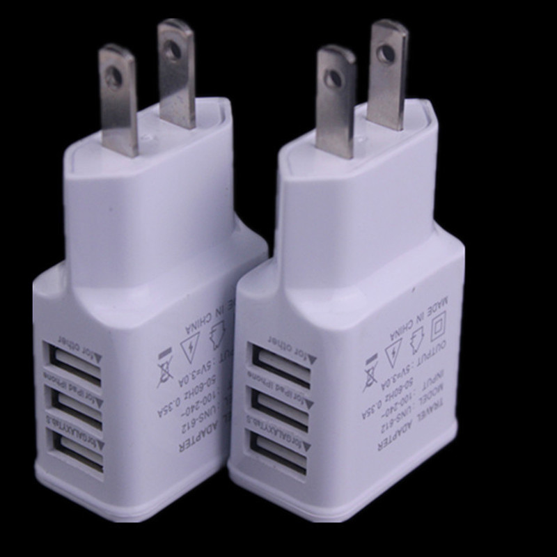 US Plug 3 Ports USB Wall Travel Charger Adapter for Iphone se 6 6S for Samsung huawei p8 lite IOS Android Smartphone 5V 2A